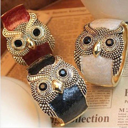 Fashion owl bangles alloy enemal women cuff bangle bracelet mix colors cheap free shipping