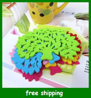 Wholesale Colorful tree shape insulation pad Coaster Felt cup Non woven bowl mat Party gifts
