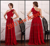 ancient greek customs - Exquisite Ancient Greek Goddess Red Evening Dresses One Shoulder Flowing Chiffon Party Formal Gowns for Women