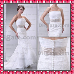 Wholesale Custom Made Empire Corset Wedding Dress Mermaid Strapless Castle Applique Organza Bridal Dress