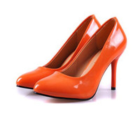 Wholesale New Orange Color Women s Shoes Patent Leather High Heels shoes Top Quality