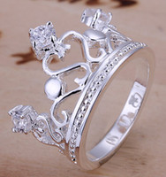 Wholesale 18 style Fashion jewelry silver rings spot inlaid crystal gemstone crown ring