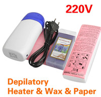 Wholesale Free gift Depilatory Pro Roll On Refillable Heater Wax Waxing Paper Kit Hair Removal Set
