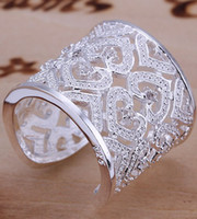 Wholesale 6 style silver rings jewelry crystal gemstone oversensitive ring