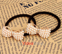 Wholesale Hair Jewelry Lovely Temperamentally Faux Pearl Bowknot Ponytail Holder Rubber Hair Band Rope