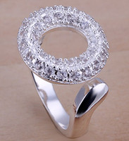 Wholesale 8 style silver rings jewelry inlaid stone opening O crystal gemstone Ring
