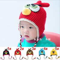 Wholesale new Baby Boy Girl Crochet Earflap Hats Knitting Bird cap winter Flower crochet hats Fall T