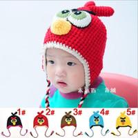 Wholesale New Baby Boy Girl Crochet Earflap Hats Knitting Bird cap winter Flower crochet hats Fall T