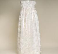 Wholesale Baby Girls Christening Dresses White Short Sleeve A Line Floor Length Silk Baby Christening Gowns