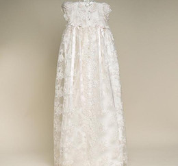 Wholesale Baby Girls Christening Dresses White Short Sleeve A Line Floor Length Silk Baby Christening Gowns
