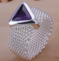 Wholesale 27 style silver rings personalized triangle mesh ring crystal gemstone ring lo