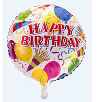 Wholesale Freeshipping Happy Birthday Design Round Foil Balloon For Party Decoration