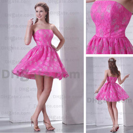 Wholesale Fuchsia Pink A Line Strapless Metallic Color Accent Lace Cocktail Dress Real Actual Images M28