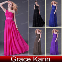 Wholesale Retail Hot Selling Colors One Shoulder Bridesmaid Prom Gown Evening Long Dress Size CL2288