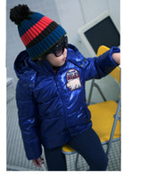 Boy 5T-6T Medium Boys Padding Jackets Girls Winter embroidered CoatChildren Shining Fabric Warm Parkas bc2