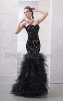 Wholesale 2012 hot sale mermaid strapless black orangza and lace beaded Sexy prom dress