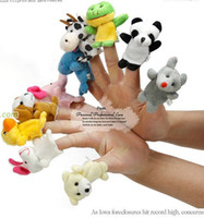 Wholesale Baby Plush Toy Finger Puppets Talking Props animal group Even mini animal finger