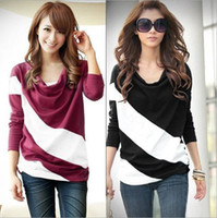 Wholesale Loose sleeve t shirt stitching striped long sleeved knitwear pullover for ladies A1057