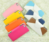 Leather For Apple iPhone  Credit card slot dual color Leather wallet pouch skin case cover for iphone 5 5G
