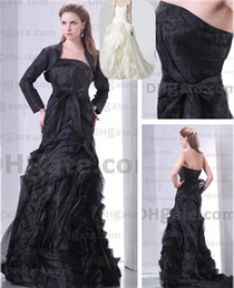 Wholesale 2012 New Sexy Strapless Elegent Organza Ruffles Bowknot Sheath Wedding Dresses DHgate00203