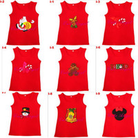 Wholesale 5pcs Baby fashion Christmas t shirt Red cotton vest Christmas tutu skirt waistcoat XMAS t shirt top