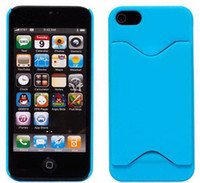 Plastic For Apple iPhone Wholesale Matte Plastic Hard Back With ID Credit Card Slot Holder Case Cover for iPhone 5 5G colors