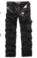 al por mayor trajes de trabajo para los hombres-Nueva espesa Lavado Multi-bolsillo Hombre de camuflaje pantalones ocasionales de los guardapolvos de los hombres Pantalones 2428
