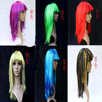 Wholesale flat bangs sequined long straight party wigs colors optional Halloween party props