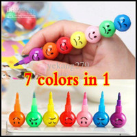 Wholesale 60set Stationery Colorful WaterColor Brush Smiley Cartoon Pens Pencil Markers Children s Toys Gifts