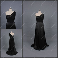 Wholesale Fall Latest Design One shoulder A line Black Long Party Dress Charming Formal Evening Gown