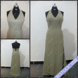 Wholesale SE02Sell At A Loss Fashion Halter Beaded Open Back A Line Long Length Brush Chiffon Evening Dress