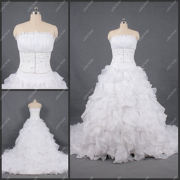 Wholesale Full Refound A Line Strapless Chiffon White Beaded Waterfall Train Wedding Gowns Bridal Dresses