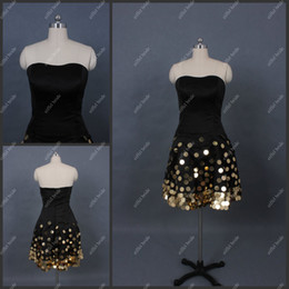Wholesale Beat Quality A Line Strapless Knee Length Sequined Satin in Stock Cocktail Dresses Party Wear