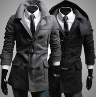 coats - 2013 new men s coats Hooded woolen coat Diagonal Horn button coats Outwear