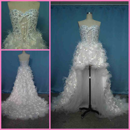 2015 Custom Made Real Picture Luxury Wedding Dress High low Wedding Dress Flower Feather Bridal Gown