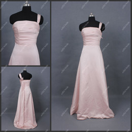 Wholesale Hot Sale One Shoulder Pink Taffeta Floor Length A Line Bridesmaid Dresses Evening Gowns in Stock