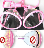 Wholesale 10cm Manual Lady Breast Pump Twin Suction Bust Vacumm Sucker Cup Massager Enlargement Exerciser Beauty products plastic