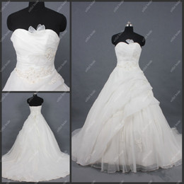 Wholesale Newest Design A Line Sweetheart Appliqued Taffeta White in Stock Train Wedding Dresses Bridal Gowns