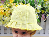 Wholesale Soft cotton Baby cap Kids Summer Big Brim Sunbonnet Sun hat color