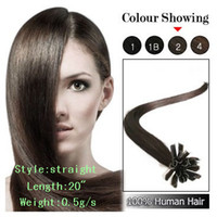 Wholesale 16 quot quot quot quot U tip fusion hair extensions remy human hair extension dark brown s set sets