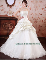 Wholesale DHL Free Ship Satin A Line Strapless Wedding Dress Embrodery Crystal Bride Gown Dress Princess Style
