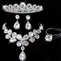 Wholesale 2012 Rhinestone Crown Necklace Earring Set Bridal water drop Jewelry Wedding Accessories