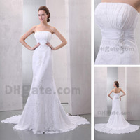 Wholesale Ivory White Wedding Dresses Strapless Mermaid Lace Chapel Train Chiffon Beaded Bridal Gowns Real Actual Image DHYZ