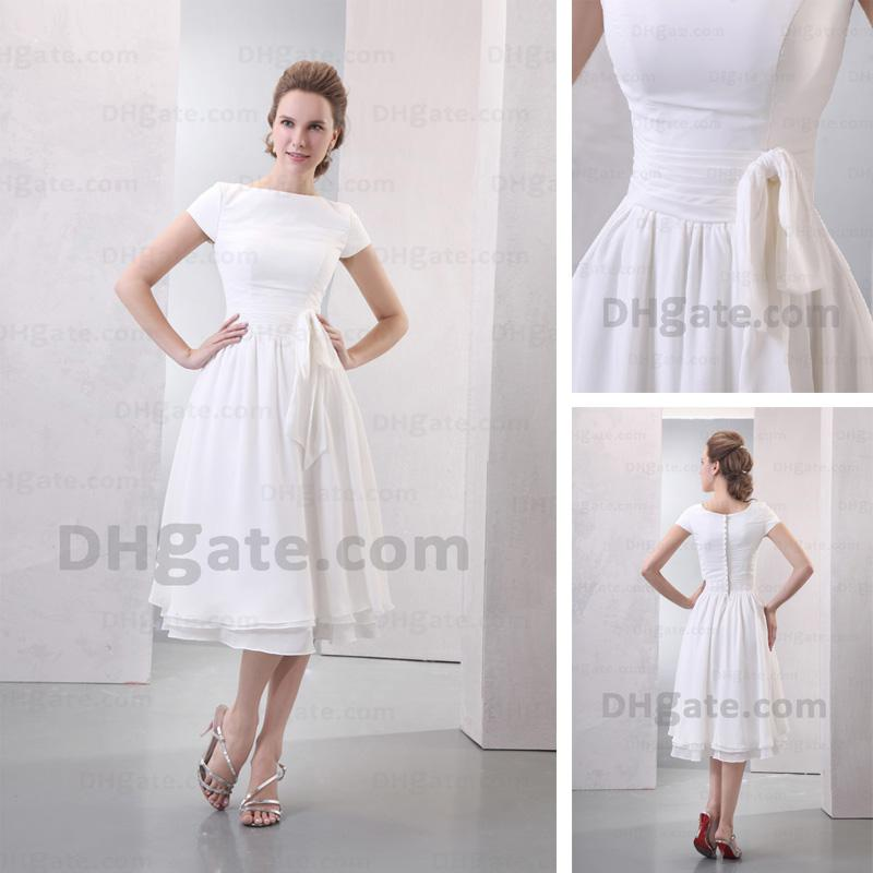 Simple Tea Length Wedding Dresses With Sleeves