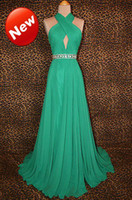 Wholesale 2013 HOT NEW Halter A line Beads Chiffon Floor length sexy beautiful Celebrity evening Prom Dresses