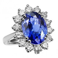 Wholesale Princess Diana Sapphire Ring Kate Middleton Sterling Silver Women Ring