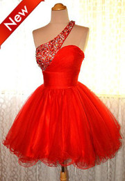 Wholesale 2013 HOT Red One Shoulder A line short beads Organza sexy Homecoming Cocktail evening Prom Dresses