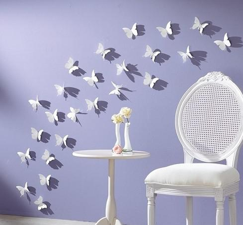 20pcs Lot 3d 5 5cm Vivid Butterfly Wall Sticker Decor Pop Up Sticker Home Room Art Decorations Baby Bedroom Backdrop