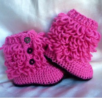 Wholesale 2012 new knit boots crochet baby booties red M toddler shoes winter snow boots l
