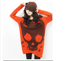 Wholesale New Women s Round Neck Long Sleeve shirts Skull Print Tops colors Warm and Available